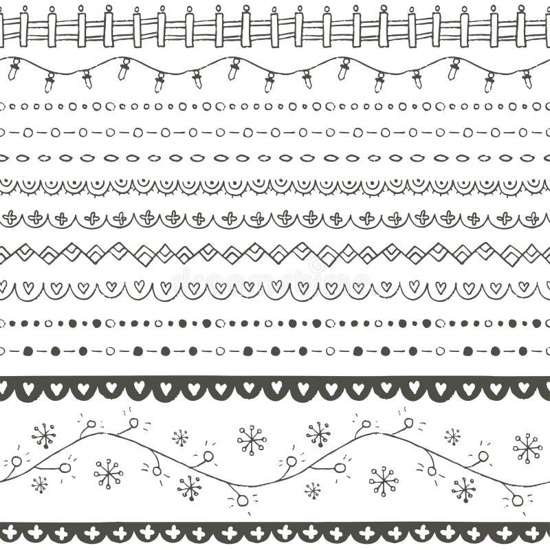 Границы зимы нарисованные рукой безшовные бесплатная иллюстрация