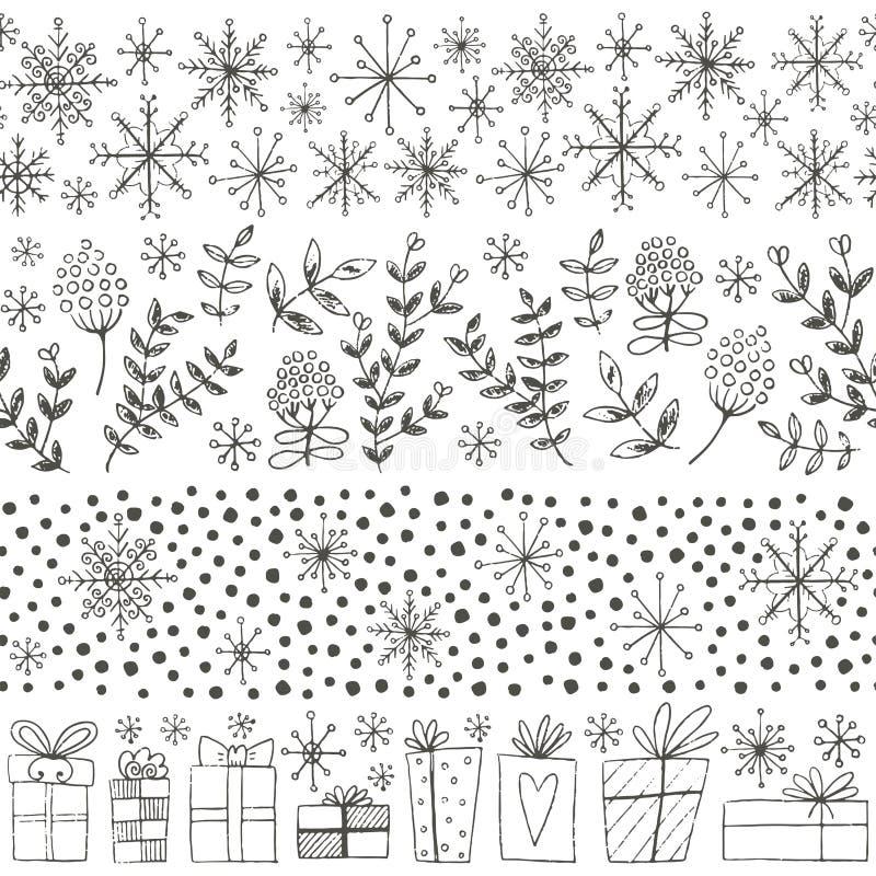 Границы зимы нарисованные рукой безшовные иллюстрация штока