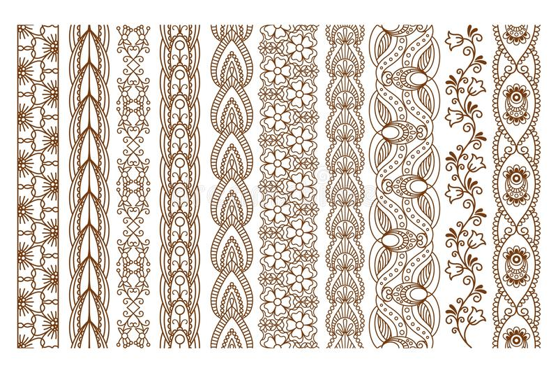 Границы индийской хны безшовные иллюстрация вектора
