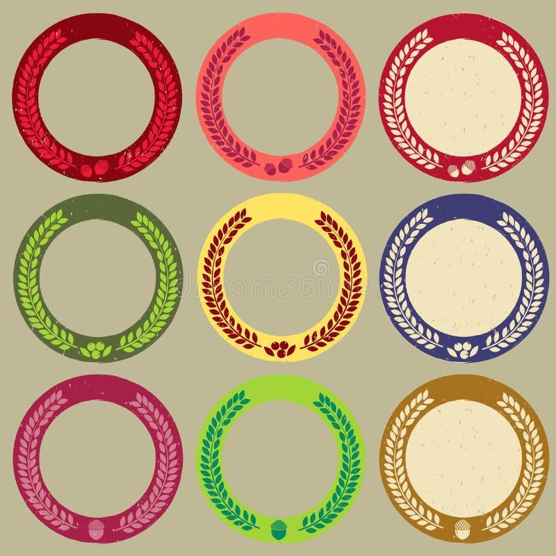 Границы и значки круга осени иллюстрация штока