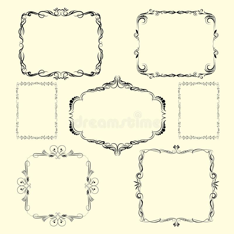 Границы и углы дизайна вектора орнаментальные иллюстрация штока