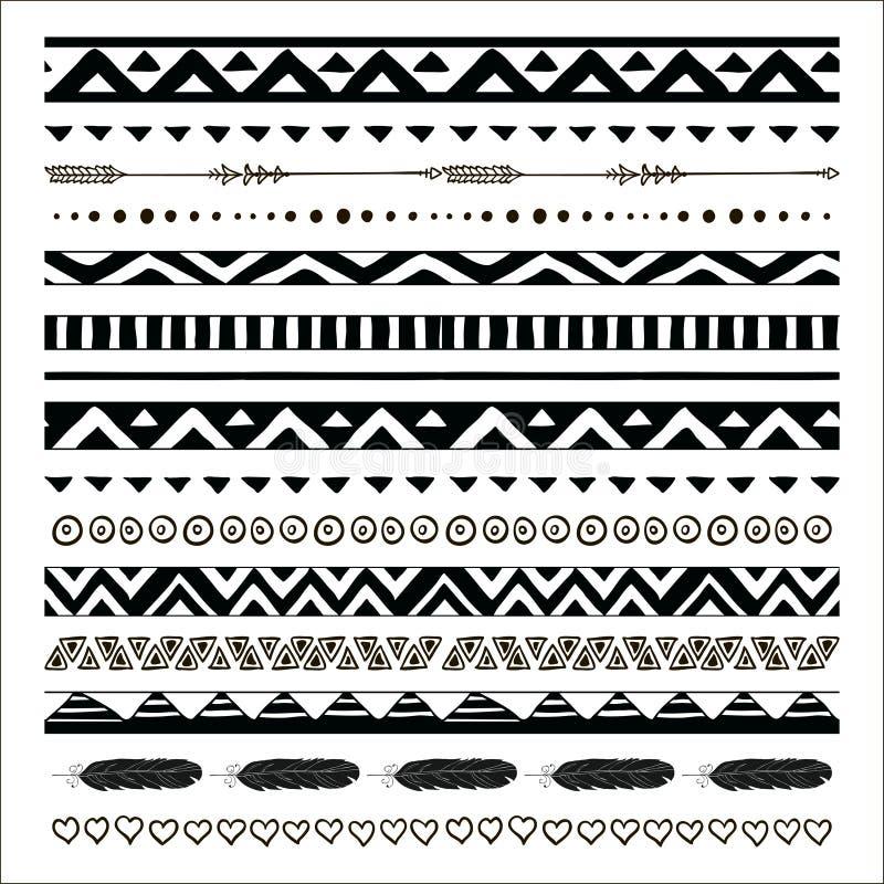 Границы картины вектора черные абстрактные племенные безшовные бесплатная иллюстрация