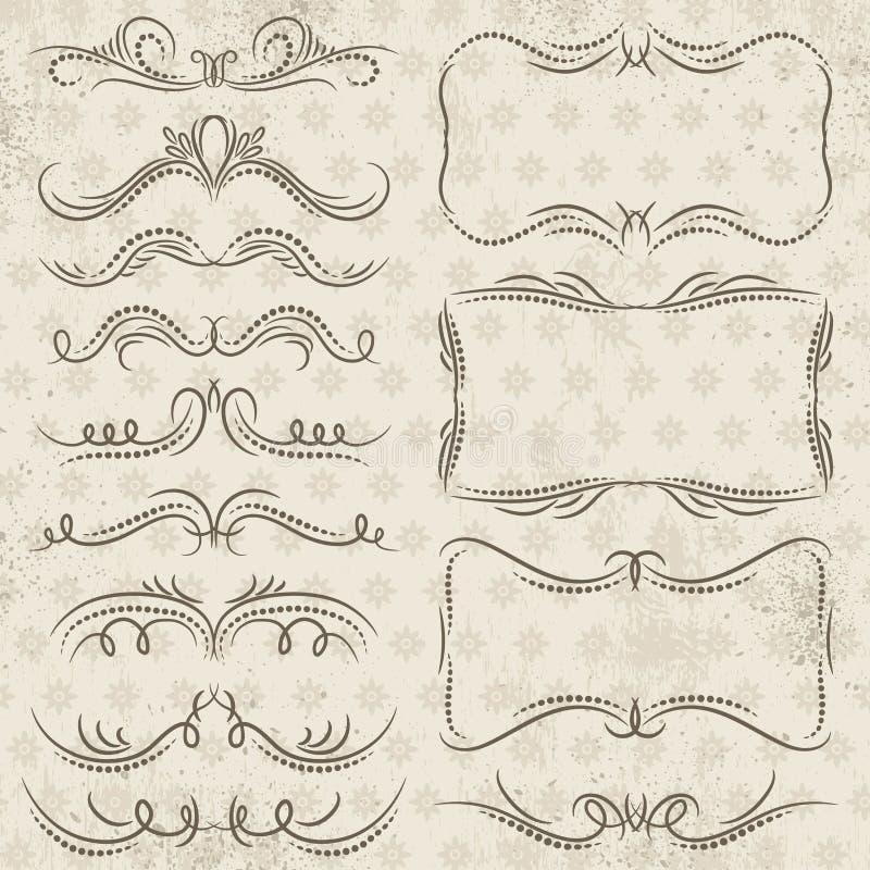 Границы каллиграфии декоративные, орнаментальные правила, рассекатели иллюстрация вектора