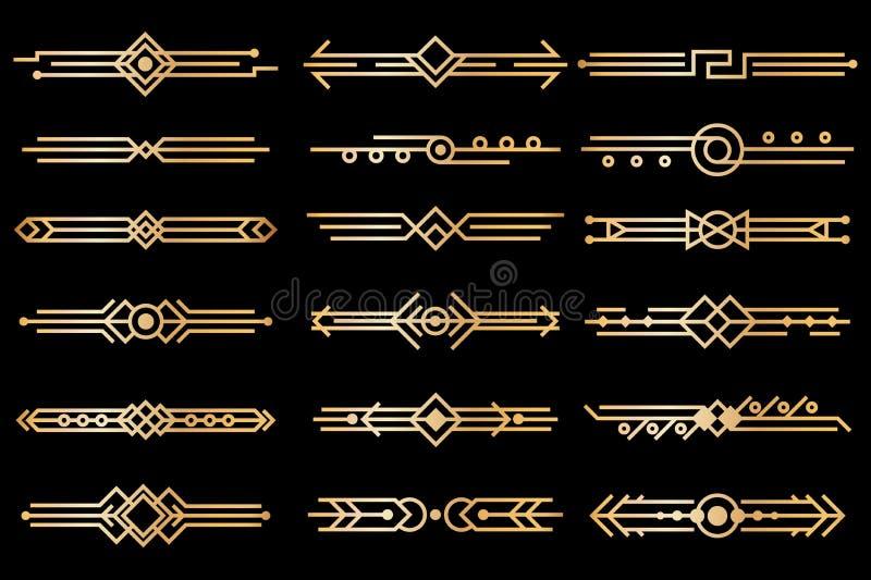 Границы стиля Арт Деко Рассекатели дизайна deco золота, картины орнамента заголовка книги 1920s и винтажные роскошные элементы 30 иллюстрация штока