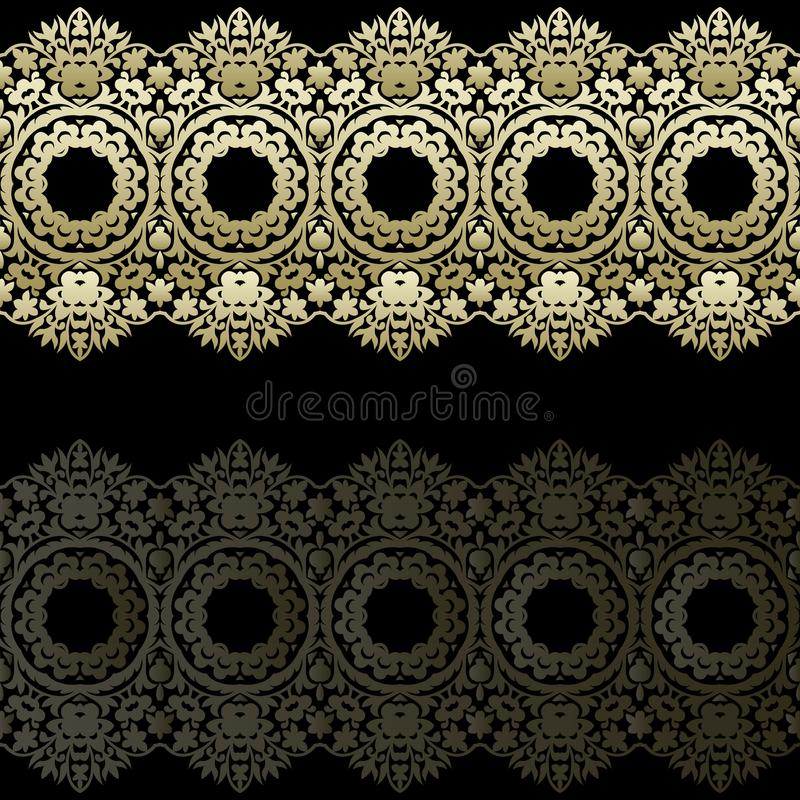 Границы шнурка золота, орнаментальные бумажные линии, вектор Имя шильдика Романтичное приглашение свадьбы абстрактный орнамент бесплатная иллюстрация