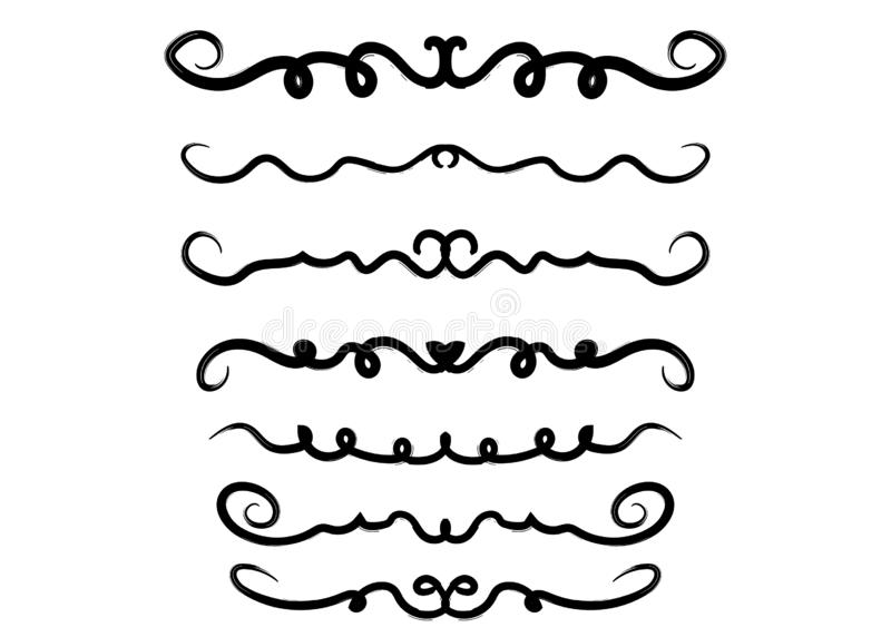 Границы Doodle нарисованные рукой установили, тонкие ходы иллюстрация штока