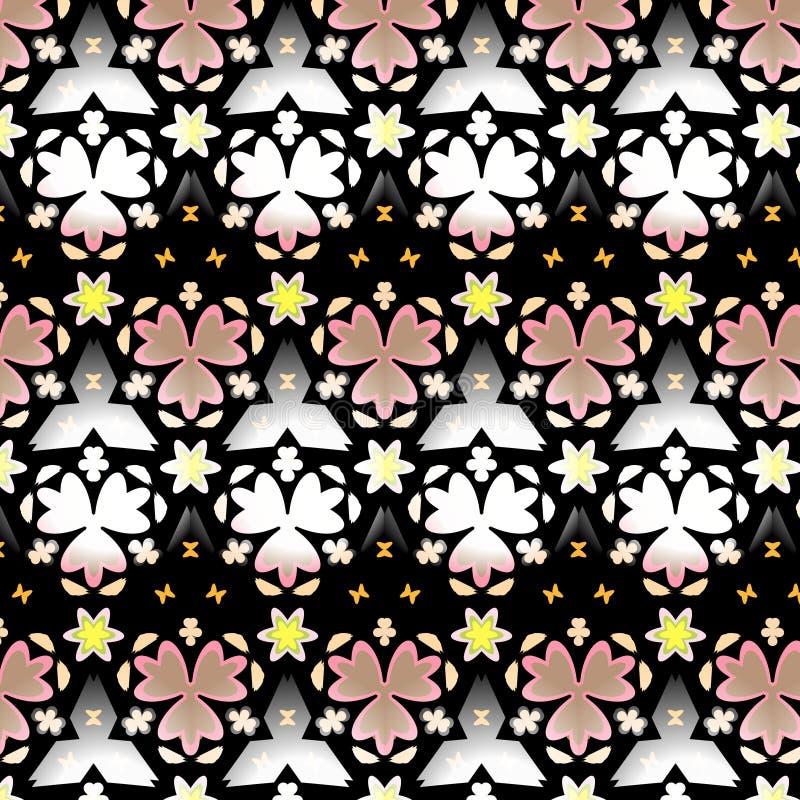 Граничьте безшовную геометрическую флористическую картину вектора в бежевом, желтой, белизне и черноте иллюстрация штока