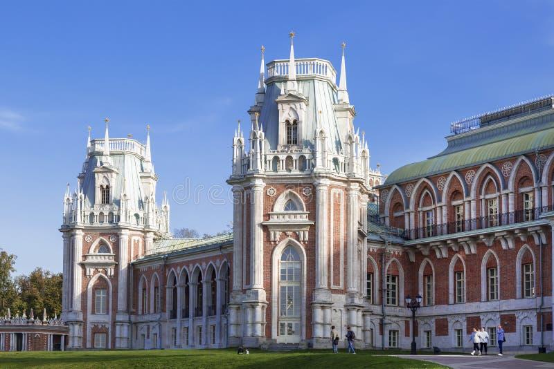 Грандиозный дворец ферзя Екатерины Великой в Tsaritsyno, Москве стоковые фото