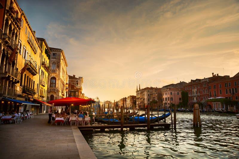 Грандиозный канал после захода солнца, Венеция стоковое фото