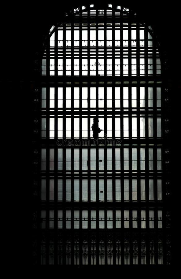 Грандиозный силуэт центрального стержня в окне стоковое фото rf