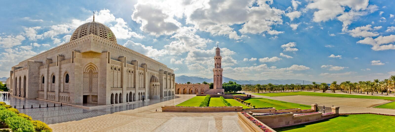 грандиозный султан qaboos маската мечети стоковое фото rf