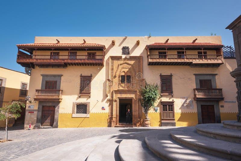 Гран-Канарии Las Palmas de, Испания - 25-ое февраля 2019: Колумбус Дом Каса de Двоеточие, Las Palmas, Канарские острова, Испания стоковые изображения