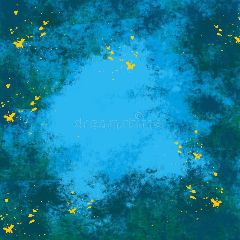 Графика предпосылки выплеска чернил цвета Grunge синь текстуры грязного художественная абстрактная творческая желтая иллюстрация штока