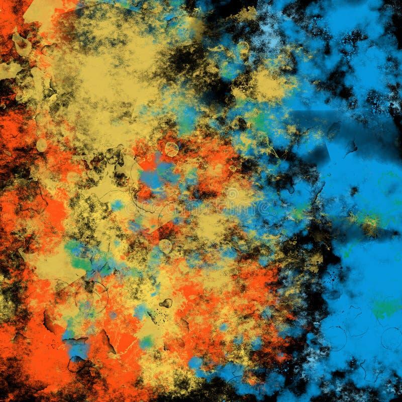 Графика предпосылки выплеска чернил цвета Grunge синь текстуры грязного художественная абстрактная творческая желтая стоковая фотография rf