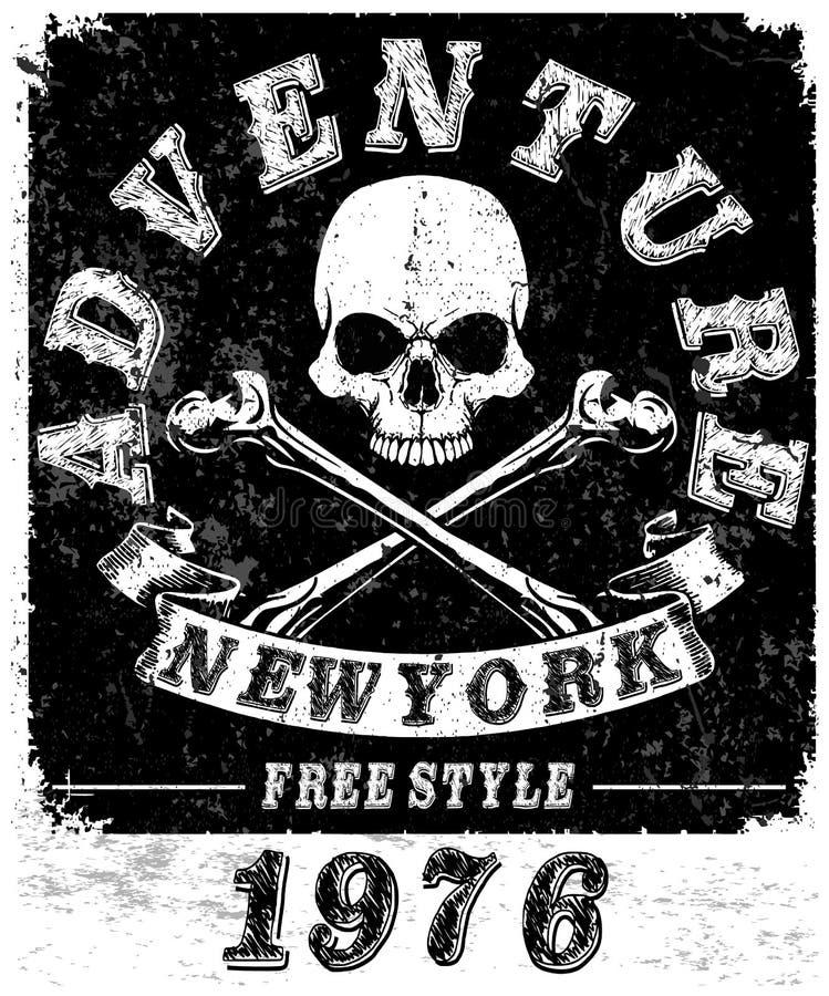 Графики и плакат оформления гонок мотоцикла Череп и старая бесплатная иллюстрация