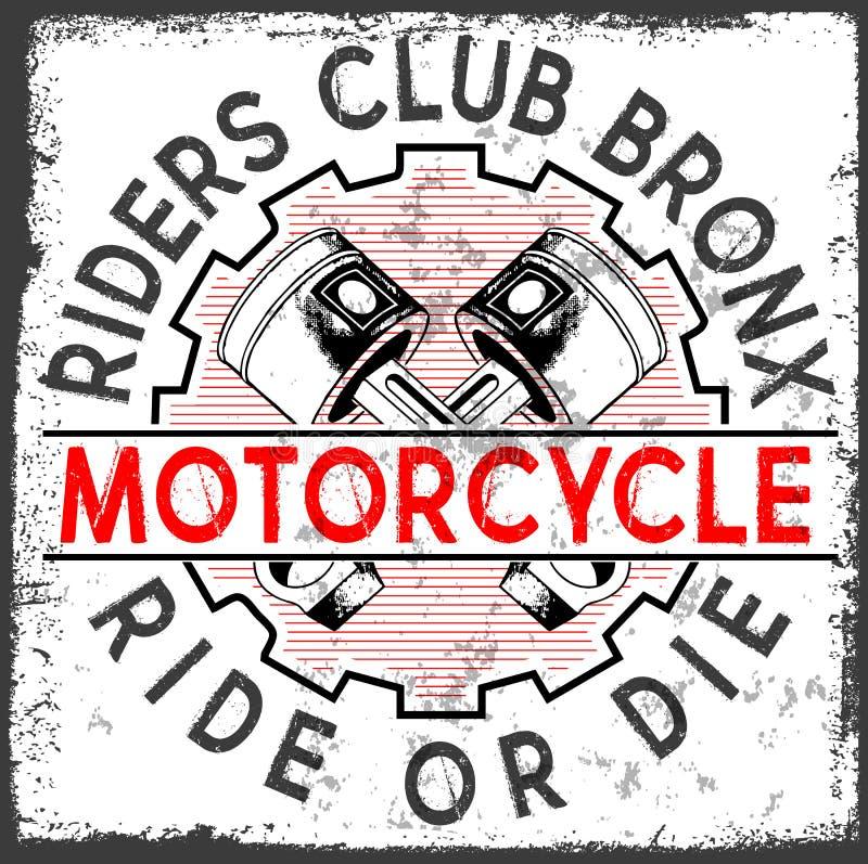 Графики и плакат оформления гонок мотоцикла Череп и старая иллюстрация вектора