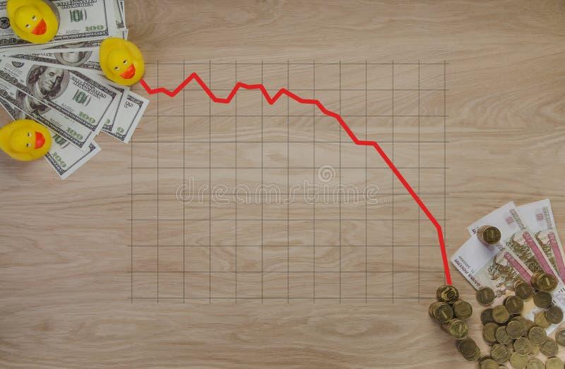 Графики иллюстраций на деньгах и монетках символ коррупции в России - утке стоковое фото