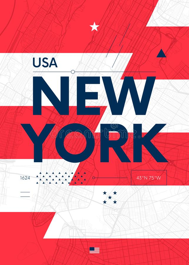 Графики оформления красят плакат с картой Нью-Йорка, иллюстрации перемещения вектора иллюстрация вектора
