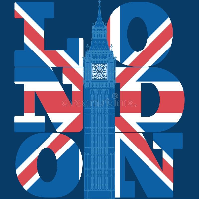 Графики оформления Лондона, дизайн футболки иллюстрация вектора