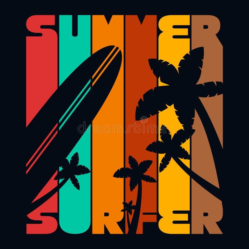 Графики оформления футболки серфера лета, вектор иллюстрация штока