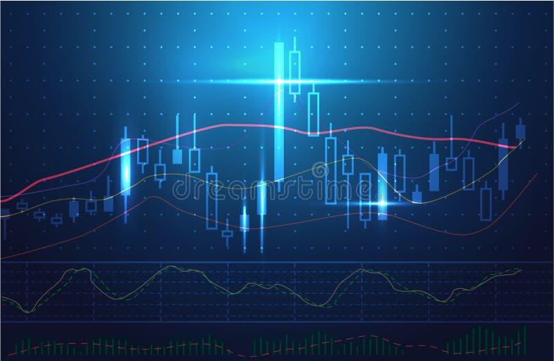 Графики состояния запасов и изучение конъюнктуры рынка вектора в голубой теме иллюстрация вектора