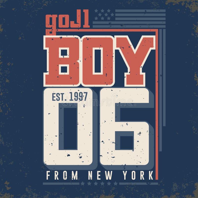 Графики футболки - мальчик от Нью-Йорка вектор иллюстрация вектора