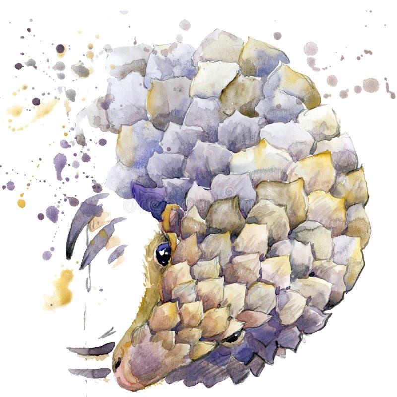 Графики футболки броненосца, африканская иллюстрация броненосца животных с акварелью выплеска текстурировали предпосылку иллюстрация штока