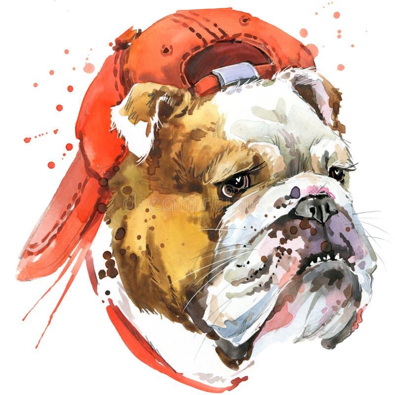 Графики футболки бульдога собаки выследите иллюстрацию бульдога с предпосылкой выплеска текстурированной акварелью необыкновенная иллюстрация штока