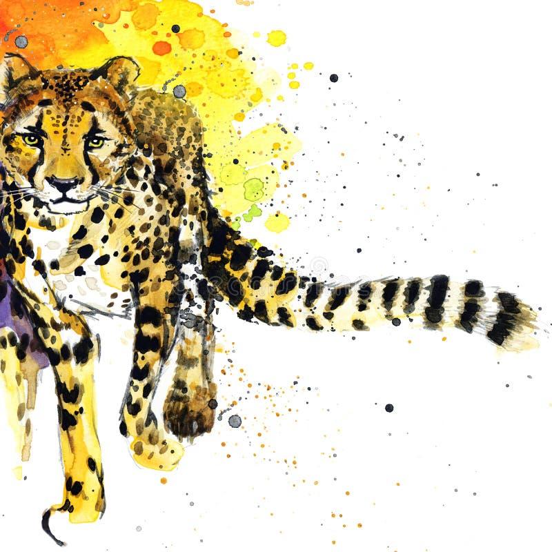 Графики футболки гепарда, африканская иллюстрация гепарда животных с акварелью выплеска текстурировали предпосылку
