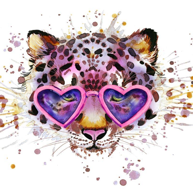 Графики футболки леопарда Иллюстрация леопарда с предпосылкой выплеска текстурированной акварелью бесплатная иллюстрация