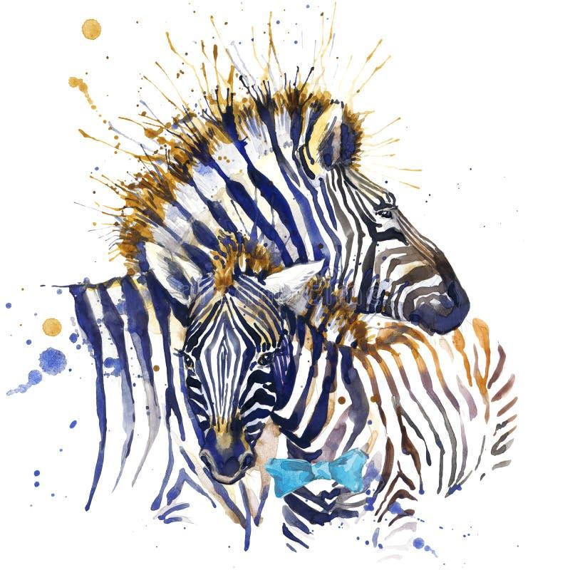 Графики футболки зебры иллюстрация зебры с предпосылкой выплеска текстурированной акварелью необыкновенное fashi зебры акварели и иллюстрация штока