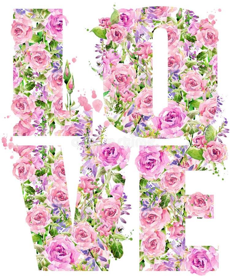 Графики футболки Любовь Розовая акварель цветка иллюстрация штока