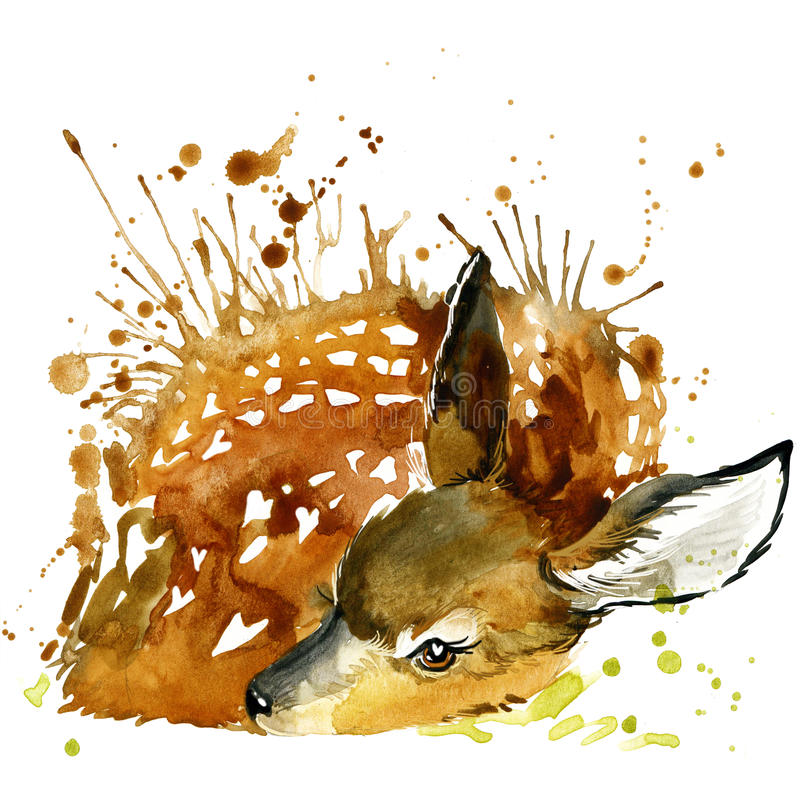 Графики футболки оленей, иллюстрация оленей с акварелью выплеска текстурировали предпосылку