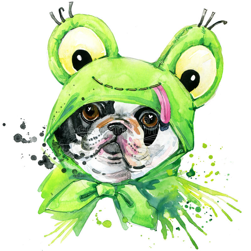 Графики футболки собаки французского бульдога иллюстрация французского бульдога с акварелью выплеска текстурировала предпосылку н иллюстрация вектора
