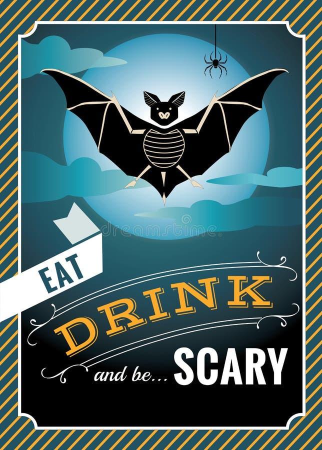 Графики хеллоуина с силуэтом летучей мыши и цитатами хеллоуина стоковое фото