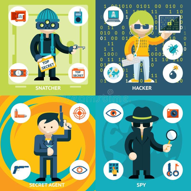 Графики шпионажа и преступной деятельности вектора иллюстрация штока