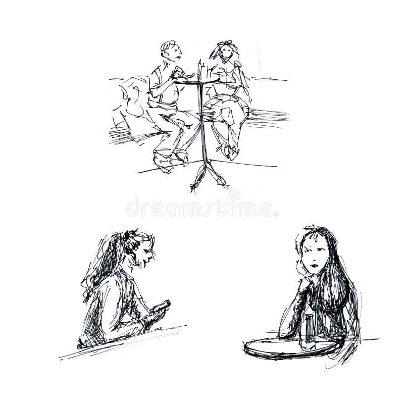 Графики - эскиз в кафе, мужчине и женских диаграммах иллюстрация вектора