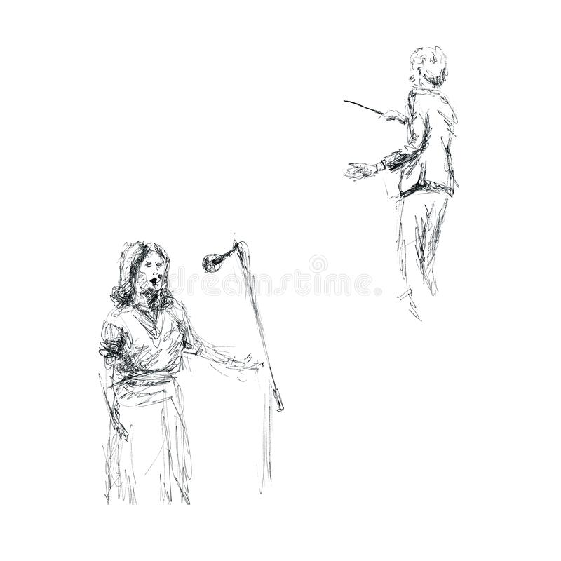Графики - эскиз на вокалисте концерта, проводника и женщины бесплатная иллюстрация