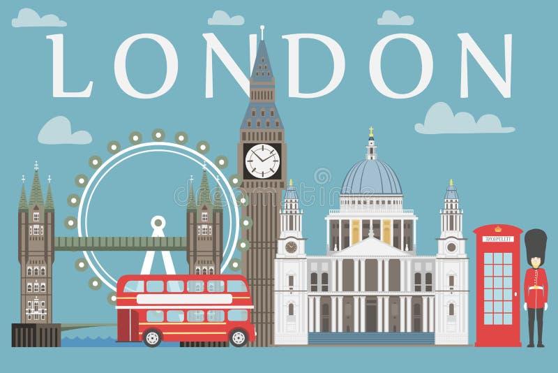 График данным по перемещения Лондона Vector иллюстрация, большое Бен, глаз, мост башни и шина двойной палуба, коробка полиции, St иллюстрация вектора