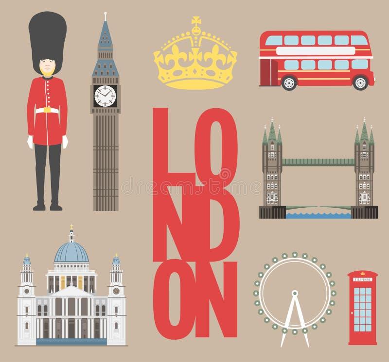 График данным по перемещения Лондона Vector иллюстрация, большое Бен, глаз, мост башни и шина двойной палуба, коробка полиции, St иллюстрация штока