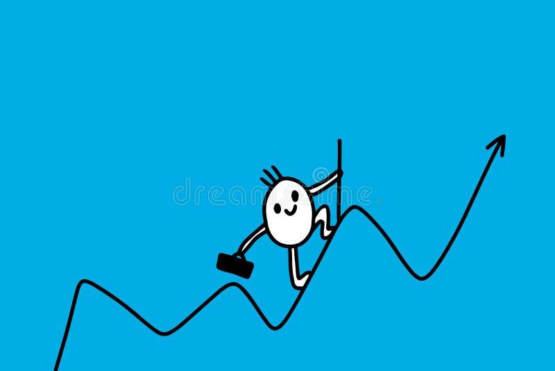 График бизнесмена мультфильма с рукой нарисованной вверх по линии Минимализм вектора торговца бесплатная иллюстрация