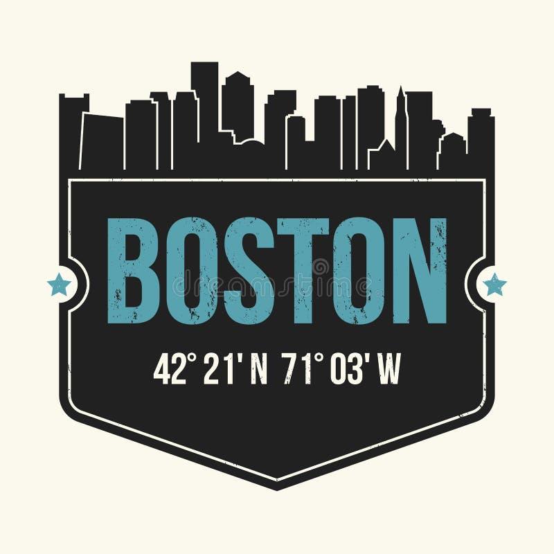 График города Бостона, дизайн футболки, печать тройника, оформление иллюстрация вектора