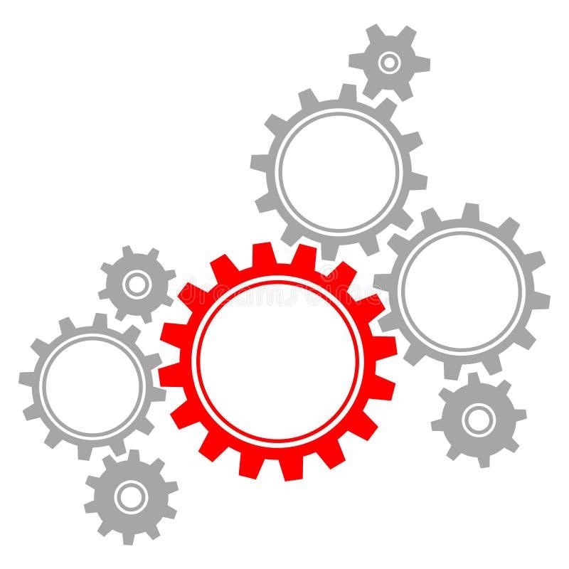 График группы из восьми зацепляет красные и серые большую и маленький иллюстрация штока