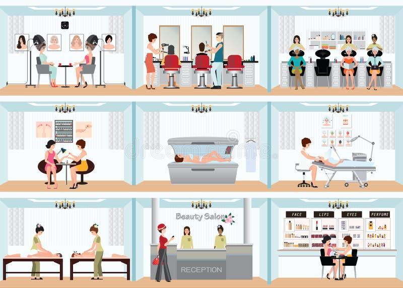 График данным по салона красоты людей в курорте и различном pr красоты иллюстрация вектора