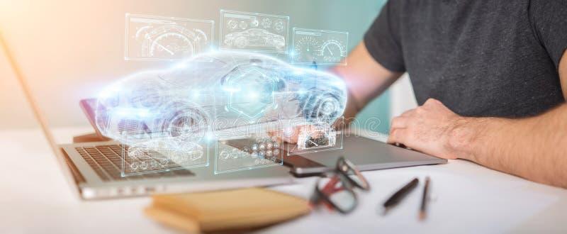 График-дизайнер используя современный умный перевод интерфейса 3D автомобиля бесплатная иллюстрация