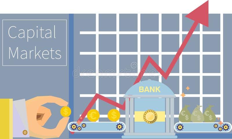 График денег рынков акций финансовый торгуя к иллюстрация штока