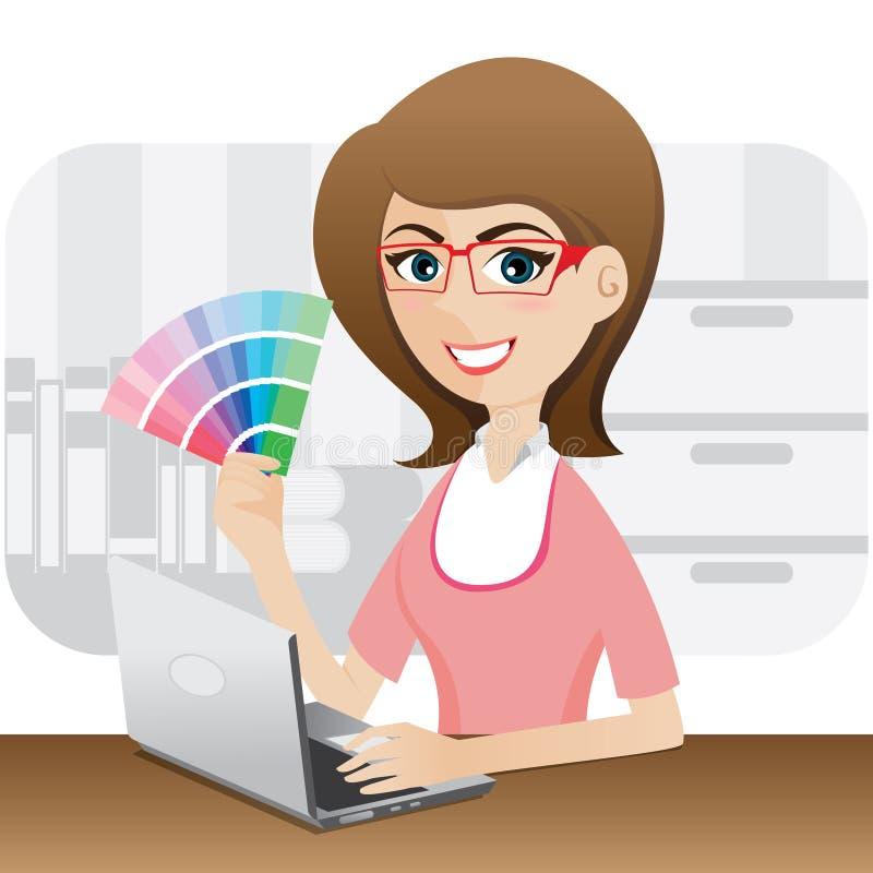 График-дизайнер девушки шаржа показывая диаграмму цвета иллюстрация вектора