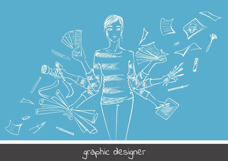 График-дизайнер маленькой девочки иллюстрация вектора