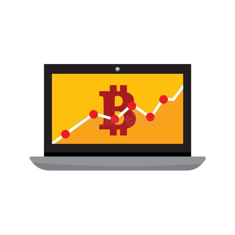График иллюстрации вектора портативного компьютера диаграммы статистики Bitcoin иллюстрация вектора