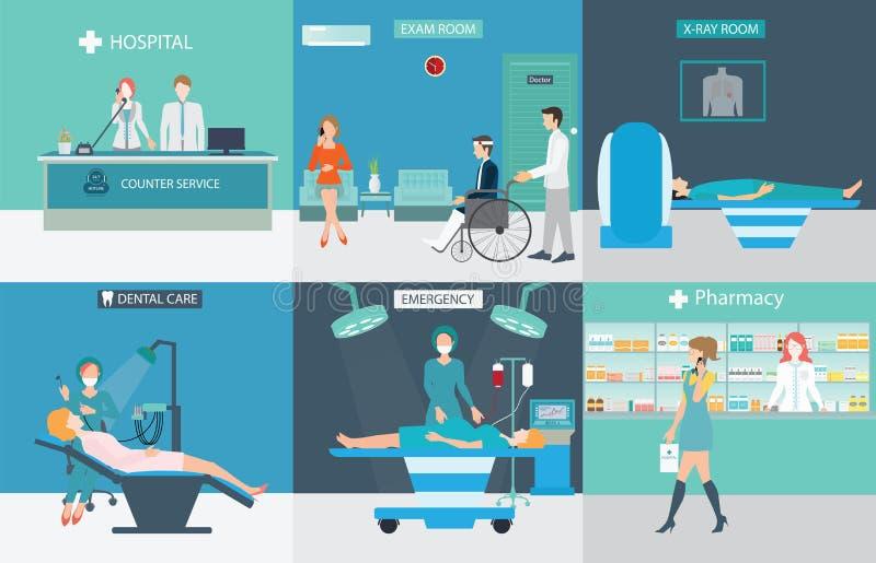 График информации медицинских обслуживаний с докторами и пациентами стоковые фотографии rf
